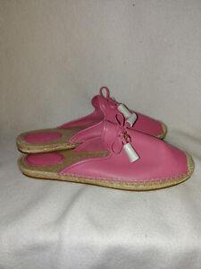 New Women Coach Pink Cassidy Leather Espadrille Slide Flats Shoe Size 10 M 40.5