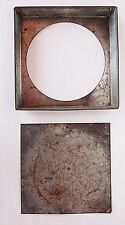 "Old Antique Cake Pan 8"" Square Removable Bottom Folded Ends Country Decoration"