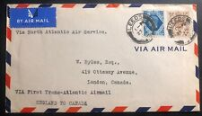 1939 Leeds England First Flight Cover Ffc To London Canada Transatlantic Airmail