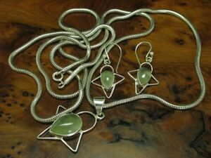 925 Sterling Silver Jewelry Set with Peridot Decorations/Chain + Pendant Earring