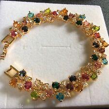 """GB Multicoloured gems 7"""" 18mm 18k gold filled links bracelet Plum UK BOXED"""