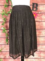 Talbots Skirt size 8 Brown Silk Floral Dots Embroidery Knee Full Modest Wedding