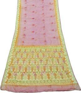 Women Sari Woven Sarong Wrap Pink Floral Vintage 100 % Pure Silk Saree PSSI1136