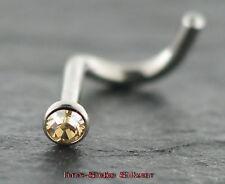 Nasenpiercing TITAN gebogener Stecker mit Kristall GOLDLINE Nasenstecker