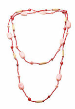 Evening Sunset- Coral Stone, Orange & Wood Beaded Long Necklace.(Zx82 TR / SR)