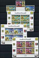 356/SPACE RAUMFAHRT 1977 Libyen Libya UPU Post 584-6 + Block 26-28 ** MNH