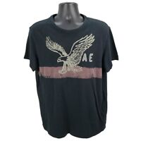 American Eagle Men's XL Athletic Fit Short Sleeve Graphic T-Shirt Black Cotton