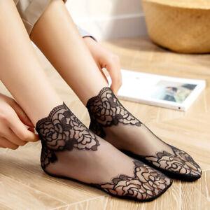 Women Girls Summer Lace Flower Hollow Out Socks Liner Low Cut Short Socks