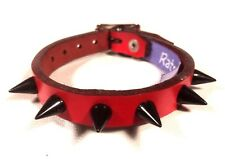 Red leather Small Black Spike Stud bracelet wrist cuff band Steam punk