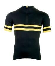Torm T1 merino SportWool cycling jersey - Black/Yellow - S