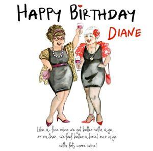 PERSONALISED BIRTHDAY CARD 6X6 OLDER LADY WINE & FRIENDSHIP - FRIEND,SISTER