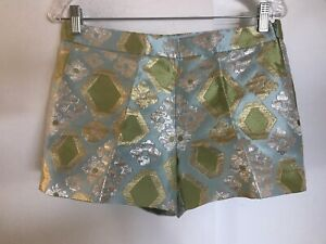 J. CREW Collection Geo Brocade Shorts Size 4 Light Blue Metallic NWOT