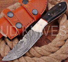 8 INCH UD CUSTOM DAMASCUS STEEL HUNTER SKINNER KNIFE BONE&HORN HANDLE B5-11447