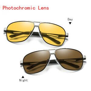 Photochromic Polarized Sunglasses Mens Pilot Sport Driving Night Vision Eyewears