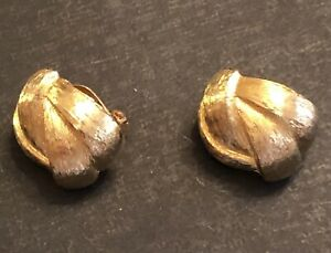 """Vintage signed Givenchy textured gold tone 1 1/4"""" x 1"""" knot clip on earrings"""