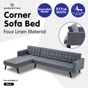 New Sarantino 3-Seater Corner Wooden Sofa Bed Lounge L-Shaped Chaise Sofa Grey