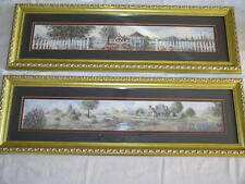 """Set of 2 Glynda Turley 24"""" x 6¼"""" Framed, Matted Country Cottage Prints"""