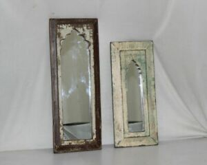 Vintage Wooden Arch Design Wall Hanging Mirror Hand Carved Framed Decorative
