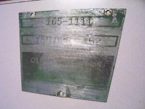 VINTAGE OLIVER  1650  ROW CROP TRACTOR -SERIAL # PLATE - 1964