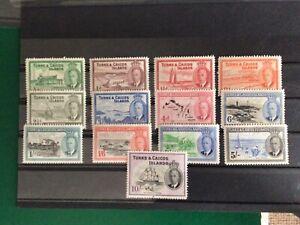 Turks and Caicos SG221/33 1950 Set Fresh M/M