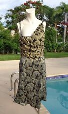 JUST CAVALLI SHIMMER STRETCH SIGNED PRINT SLEEVELESS DRESS Sz M MADE IN ITALY