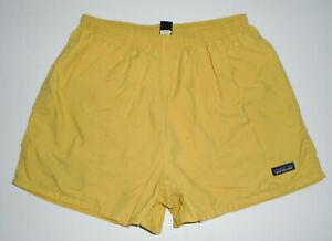 """PATAGONIA Swim Suit Trunks MUSTARD YELLOW 3.5"""" Baggies Shorts Vtg Mens LARGE"""