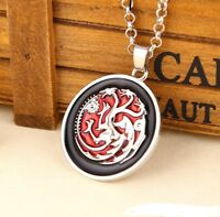 game of thrones necklace pendant jewellery silver coloured dragon red black
