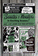 1001 Thrills Beauties & Monsters Horror Show Spook Show Poster Reprint #16
