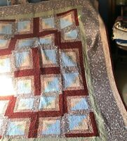 """Incredible Awesome Quilt w Blue Tan Brown Squares - 110"""" x 84"""" - Vintage  King"""