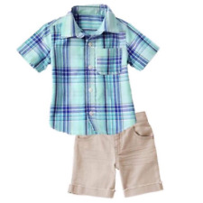 MSD Original Crazy8 Blue Green Plaid Polo and Pants Set