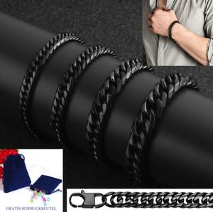 Luxury Double Curb Chain Bracelet Stainless Steel Solid Silver Gold Black Men's