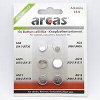 Arcas Knopfzellen Set 6-teilig Knopfzelle AG3 AG4 AG10 AG13 Batterie 1.5V Paket