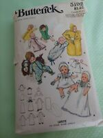 Vintage Baby Layette sewing pattern Butterick 5102 one size