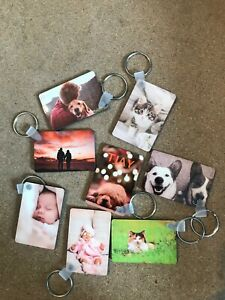 Personalised Photo Rectangle Keyring gift 60x40mm double side