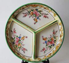Vintage Nippon Ceramic 3 Section Divided Floral Dish Platter Japan