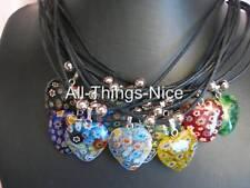MILLEFIORI Murano Glass 20mm Love HEART Pendant Necklace Jewellery 10