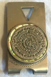 VTG Sterling Silver Money Clip TAXCO Mayan Sundial MEXICAN Signed Abalone AZTEC