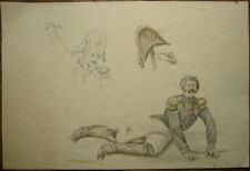 Aquarelle Dessin Portrait Militaire Soldat NAPOLEON Bonaparte XIXe Attr. RAFFET