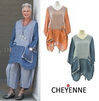 CHEYENNE  DT0622  Linen Gauze  3-POCKET BALLOON TUNIC  S/M  L/XL  2017 Colors