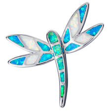 Dragonfly Green Blue White Fire Opal Mixed Silver Jewelry Necklace Pendant