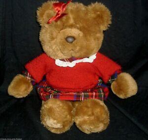 "14"" VINTAGE COMMONWEALTH GIRL TEDDY BEAR PLAID OUTFIT STUFFED ANIMAL PLUSH TOY"