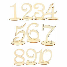 Freestanding Wooden Table Numbers 1-10 Stick Set With Base Wedding Birthday L0R8