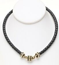 KIRKS FOLLY BRAIDED BLACK LEATHER MAGNETIC INTERCHANGEABLE NECKLACE - BRASSTONE