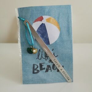 HANDMADE BOOKMARK HAND STAMPED GIFT HAPPY LIFE'S A BEACH HOLIDAY SHELL PEARL