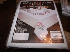 """Tobin Stamped Embroidery Tablecloth HOLIDAY HOLLY & BOWS 58"""" x 104"""""""