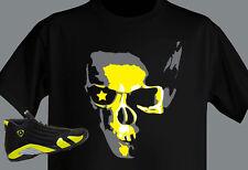 T shirt MADE TO MATCH Jordan S Jordan Shoe RETRO 14 Vibrant YELLOW / BLACK SKULL