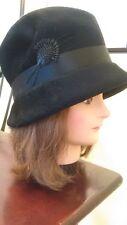 Vintage Ladies / Women's Nadelle Hat Black 1940's - 1960's - Made in Italy