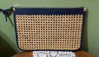 Vintage 80s Clutch Straw Wicker Rattan Webbing Navy Blue Woven Straw Vintage Mod