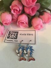 Silvertone SONIC The Hedgehog Video Game Character Dangle Earrings (Light Blue)