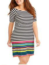 c199ab1df180 Derek Heart Plus Juniors Rainbow Stripe Pullover Summer Dress Sz 1x